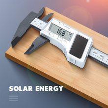 New1pc energia solar digital pinças 0-150mm de aço inoxidável grande lcd vernier caliper eletrônico micrômetro calibre medida ferramentas