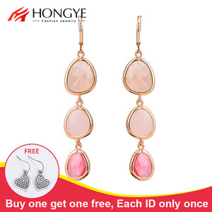 2014 New Fashion Dangle Earrings Charms Colorful Crystal Stone Long Drop Earrings for Women Girls