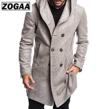 ZOGAA Fashion Mens Trench Coat Jacket Spring Autumn Overcoats Casual Solid Color Woolen for Men Clothing 2019