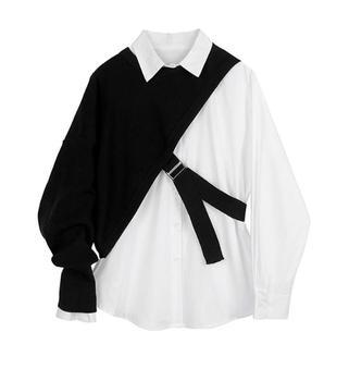 2 κομμάτια σετ Γυναικεία μπλούζα πουλόβερ πλεκτή και πουκάμισο, δέσιμο στο πλάι