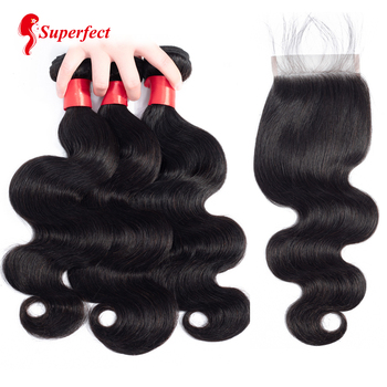 Body Wave Bundles With Closure Brazilian Hair Weave Bundles 4X4 Swiss Lace 3 Bundles With Closure Human Hair Extension