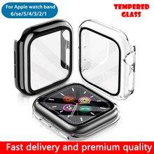 Capa de vidro temperado para apple assistir série banda 6 5 3 caso 40 44mm tpu fino caso protetor de tela para iwatch 6 5 2 1 42 38mm