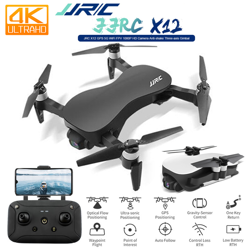 JJRC X12 GPS 4K HD Camera Drone With WiFi FPV 1080p 4K Gimble Camera Brushless Motor Foldable Quadcopter Vs H117s Zino F11 SG906