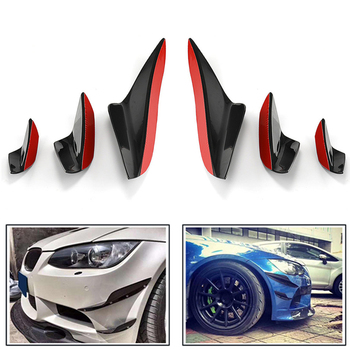6Pcs Front Bumper Canards Fins Splitters Glossy Black Car Body Spoiler Kit For BMW E90 E92 E93 M3 2005 - 2012 image