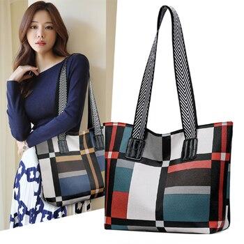2020 New Women's Bag Contrast Check Bag Oxford Casual Handbag New women's Shoulder Bag Simple Travel Bag Fashion Tote Bag цена 2017