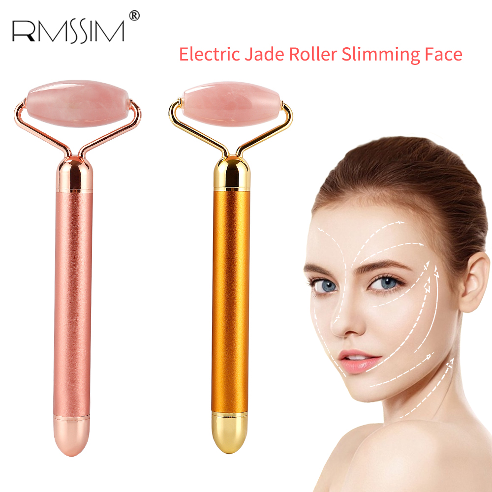 Electric Vibration Facial Slim Chin Lifting Tool Rose Quartz Jade Roller Stone Wrinkle Remove Facial Hands Neck Massage Roller