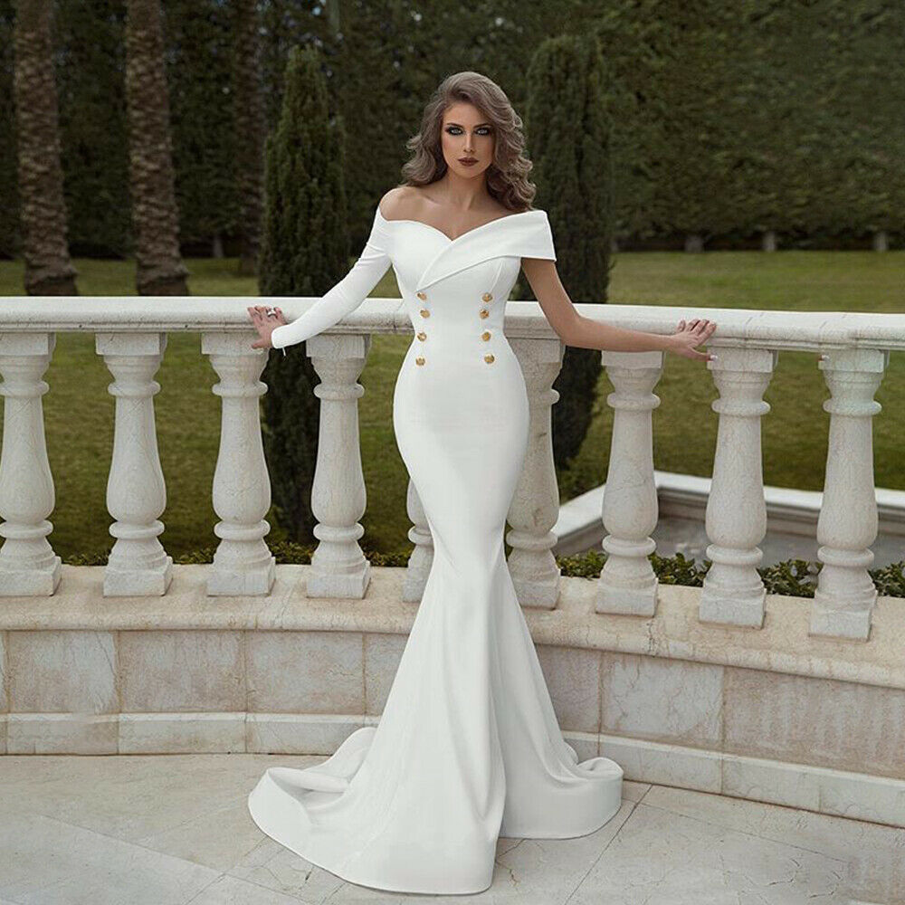 Sexy 2019 Trumpet Women's White Solid Formal Off Sleeve Button Dresses Wedding Bridesmaid Party Prom Gown Dress