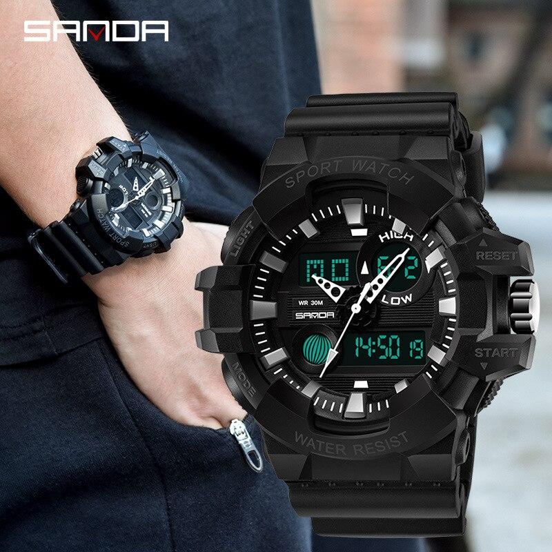 Новинка 2017, брендовые SANDA, модные часы, мужские стильные водонепроницаемые спортивные военные часы, вибрационные цифровые светящиеся часы