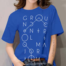 Ground Control To Major Tom T Shirt David Bowie Black Lettering Graphic Design Music Pop Geometry