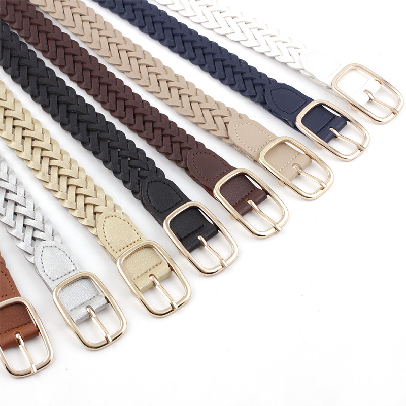 Women's PU Leather Braided Belt  New Fashion Causal Jeans Dress Waistband 2.3cm Thin Belt  Golden Square Pin Buckle Belt