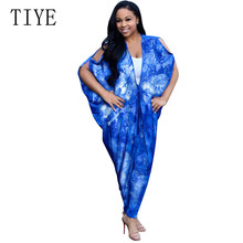 TIYE Fashion Bat Sleeve Print Two Pieces Sets Loose Long Top and Skinny Pants Summer Casual Vinatge Playsuits Female Jumpsuits