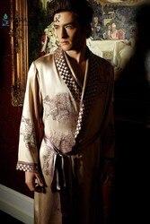 Мужской шелковый халат 100% чистый 19 мм шелковая мужская Роскошная Пижама с вышивкой кимоно халат ночная рубашка размер L XL XXL