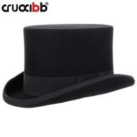 CRUOXIBB 13.5cm 100% Wool Felt Top Hat for Men Women Fedoras Magic Cap Satin Lined President Party Costume Derby Black Hat
