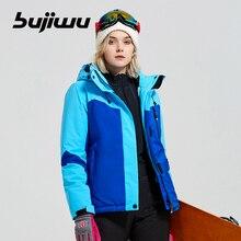 цены Bujiwu New Thick Warm Ski jacket Women Waterproof Windproof 4 Colors Size S -2XL Ski Snow Jacket Winter Outdoor Sports Coat