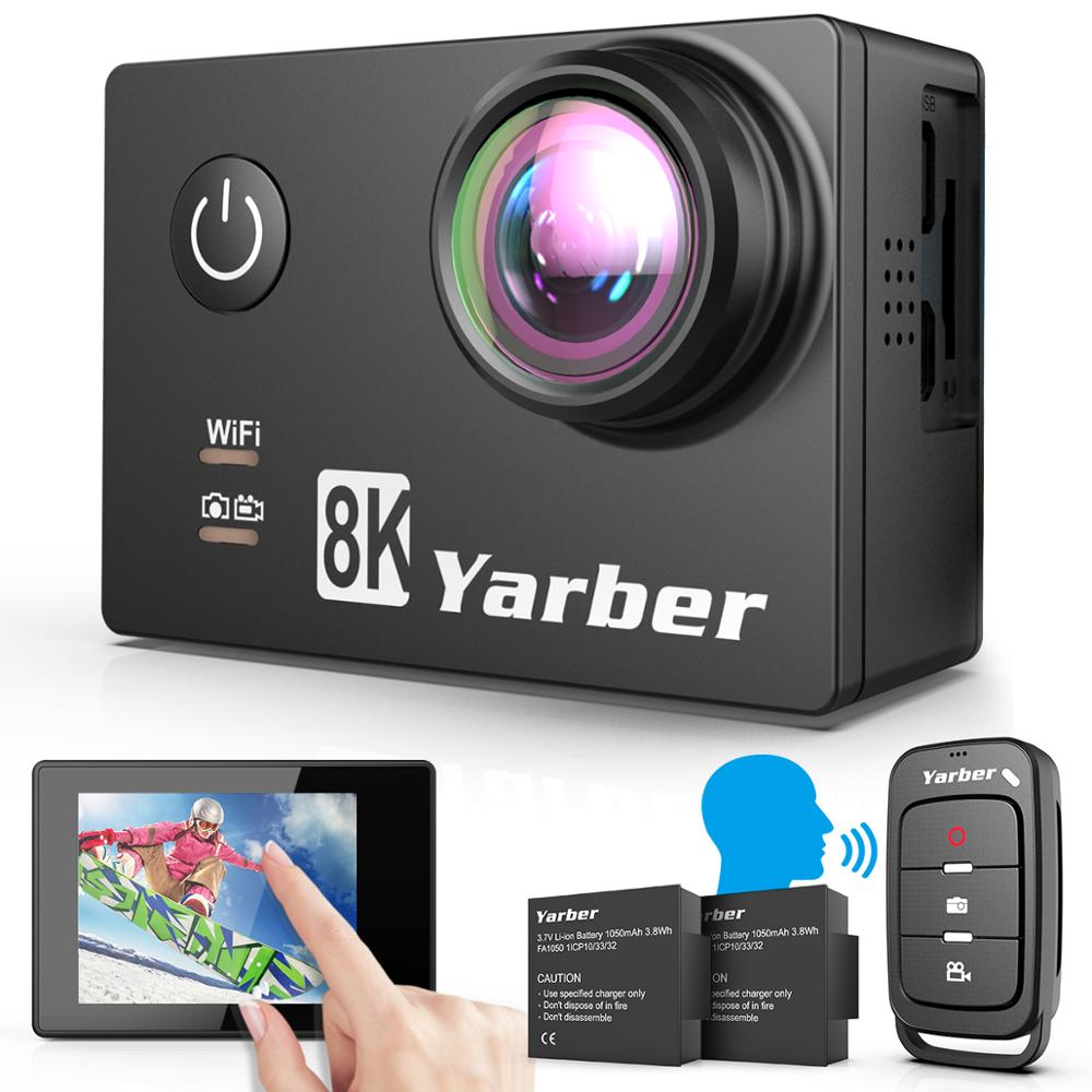 Yarber 8K Action Kamera 20MP HD 40M Wasserdichte WIFI Action Kamera 4K 60fps APP Fernbedienung Fahrrad helm Sport Video Cam