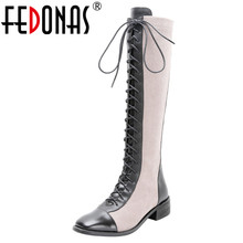 FEDONAS Cross tied Motorcycle Boots 2020 Genuine Leather Women Knee High Boots Autumn Winter Warm Square Toe Zipper Shoes Woman