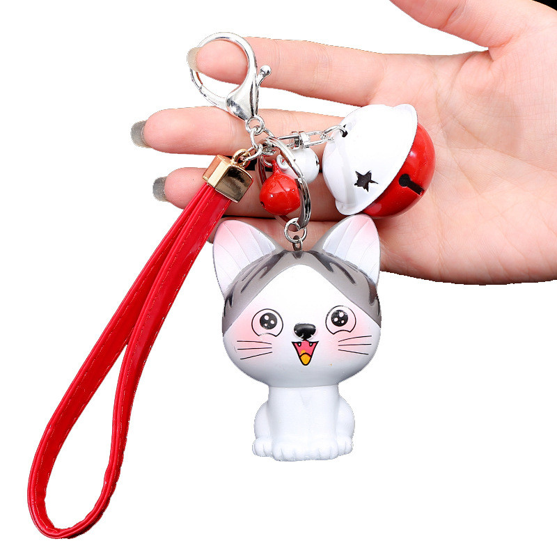 Leather Key Chain Trendy Smiling Cat Keyring With Bell Decor Cartoon Keycahin Women Jewelry Gifts