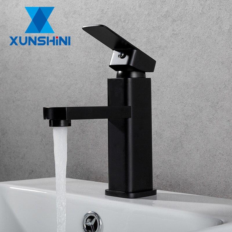 XUNSHINI, бесплатная доставка, черный квадратный крашеный кран для раковины, кран для раковины, кран для ванной комнаты, смеситель для горячей и холодной воды, одно отверстие Смесители для бассейна      АлиЭкспресс