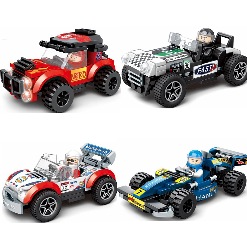 Single Sale Speed Champions Racing Car Building Block City Automobile Sport Car Police Model Bricks Toys For Children