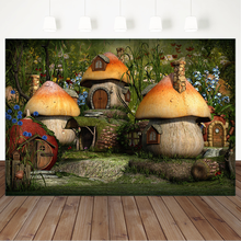 Fairy Tale Forest Photography Background Children Backgrounds Photo Studio Mushrooms House Flowers Backdrop for Photo free shipping fairy tale digital kids studio photography background backdrop 5x10ft baby children fabric backdrop a 1187