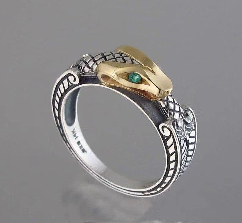 Qiluxy punk vintage prata cor cobra anéis para mulheres moda personalidade charme festa anel dedo jóias