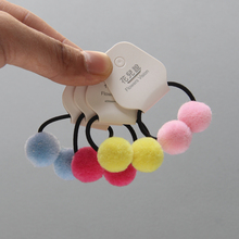 Cute Little Girls' Double Fur Pom Pom Hair Bands No Damage Elastic Rope Two Pompom Hair Ties Hair Accessories