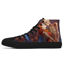 2019 New Style High Top Skull Print Canvas Shoes for Men Fas