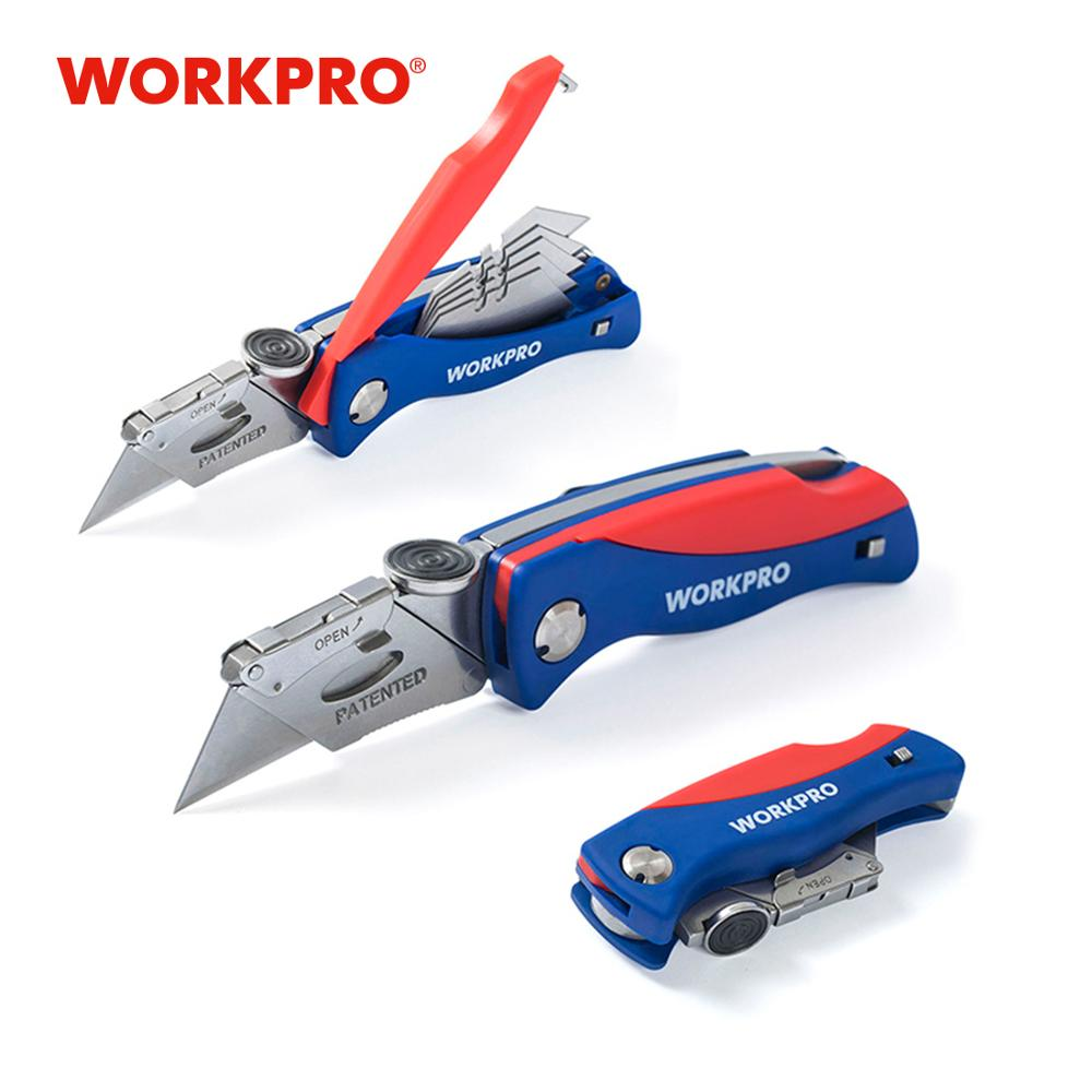 WORKPRO Folding Knife Electrician Utility Knife For Pipe Cable Cutter Knives With 5PC Blades In Handle