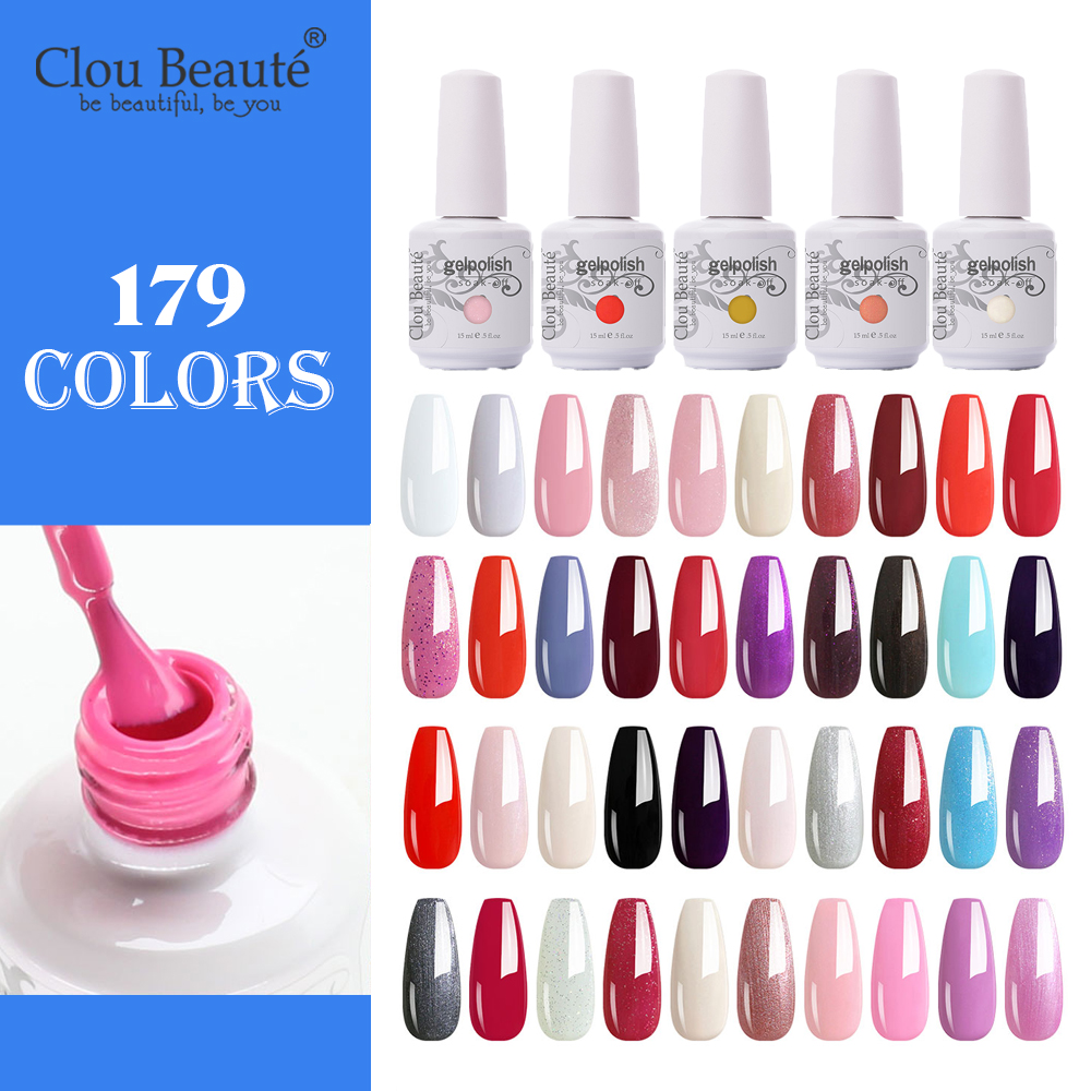 Clou Beaute  179 Colors Nail Gel UV LED Semi Permanent Nail Polish Varnish Hybrid 15ml Yellow Pink  Art Builder Gel Lacquer