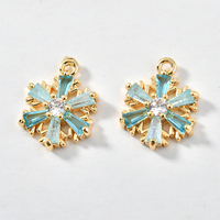 New Arrival Gold Tone Copper Alloy Charms 10pcs 10mm Zircon Crystal Snowflake Pendant Fit Earring Necklace Ornament Decoration