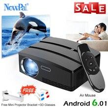 Newpal Mini Taşınabilir Projektör 1200 Lümen LED Ev Sineması Ile Android 4.4 WIFI Bluetooth Desteği Miracast Airplay AC3 Proyector