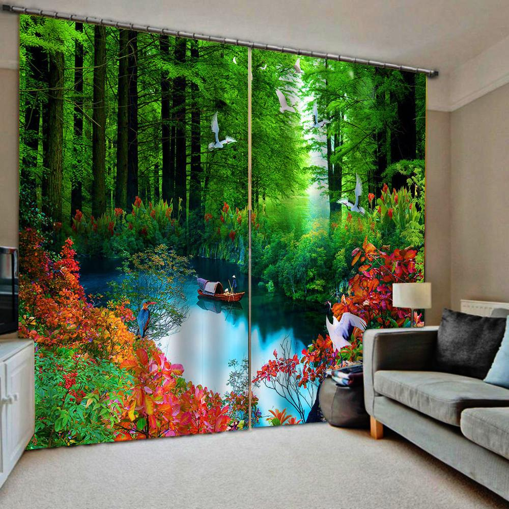 forest curtain green curtains nature scenery landscape curtain 3D Curtain Luxury Blackout Window Curtain Living Room