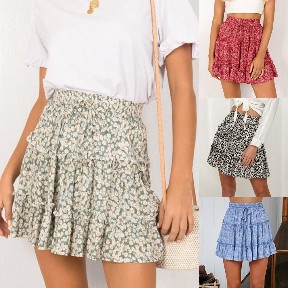 Summer Beach Women Bohemian Flower Print Ruffled High Waist A Line Mini Skirt Elastic Waist Casual Above Knee Skirt A-Line Skirt