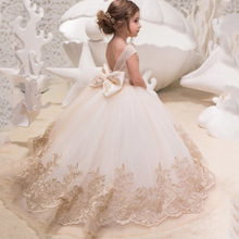 Champagne Lace Ball Gown Flower Girl Dresses Long Sleeve Girl Princess Dress Illusion Girl Wedding Party Dress First Communion