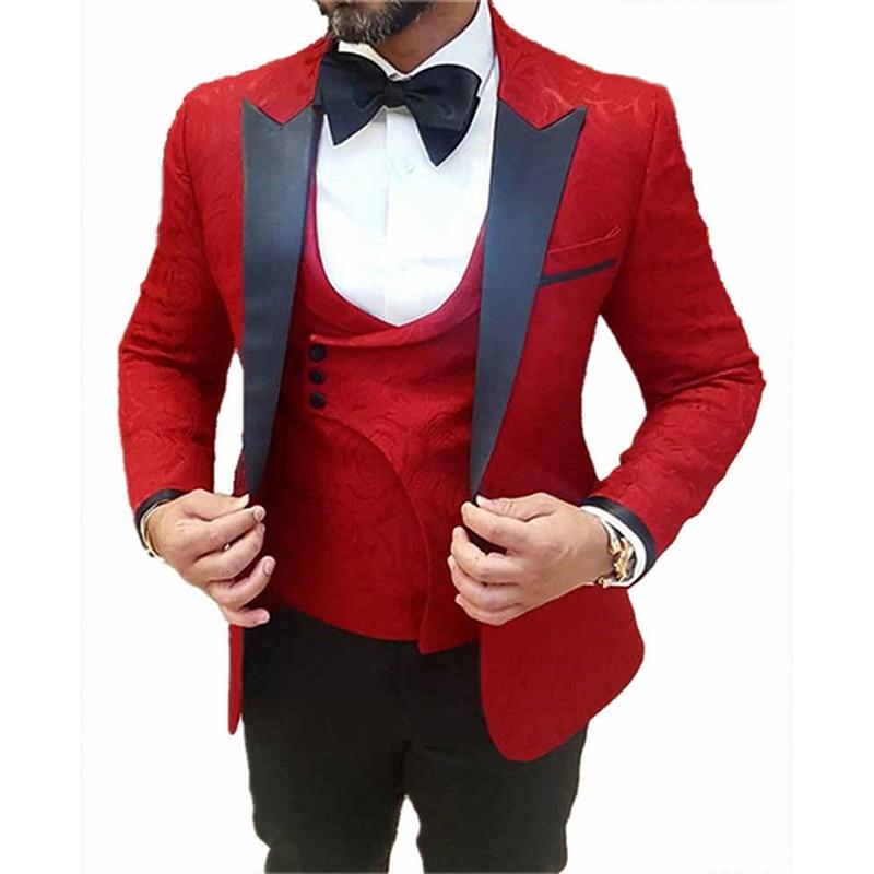 Male Retro Jacquard Peak Lapel Tuxedo Suits Wedding Groom Groomsmen Dress Wear 3 Pieces Men's Prom Suits Set For Dinner