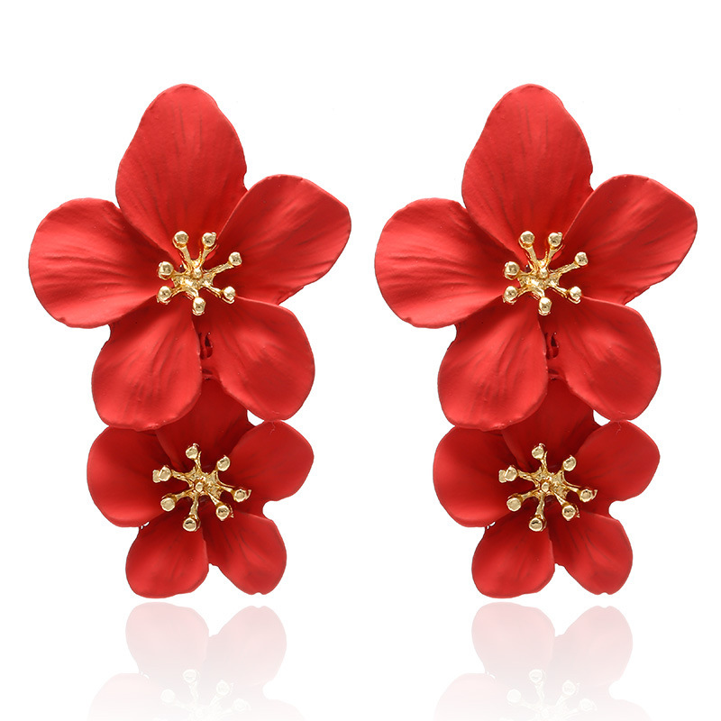 2019 Earrings For Women Oorbellen Ohrringe Promotion Brincos Cakes Sweet Personality Multicolor Double Flowers Stud Earrings