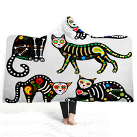 Cat Hooded Blanket Office Quilts Sofa Fashion Bedding Overcoat Adults Wearable Animal 3D Print Travel Airplane Coats