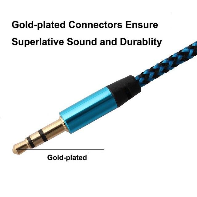 3.5mm plug multi-color náilon aux áudio jack cabo de linha para carro mp3 pc para xiaomi para andriod para iphone hdmi aux cabletxtb1