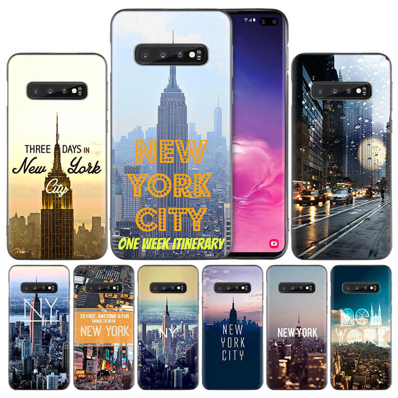New York City Silicone Case Cover Coque for Samsung Galaxy S10 S10e S9 S8 S7 Edge J8 J6 J4 Note 8 9 10 Plus 2018 5G Back Shell