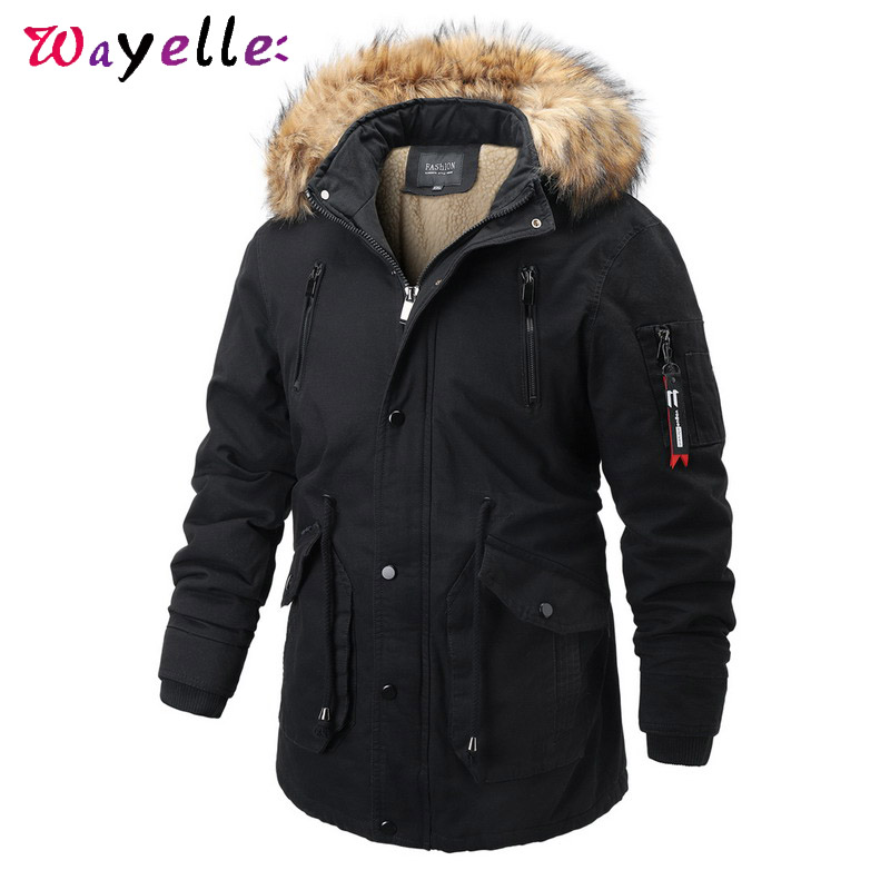 Men Winter Jacket Coat 2019 Casual Thicken Warm Windbtreaker Fur Collar Hooded Medium-Long Cotton Padded Parka Men Long Coat