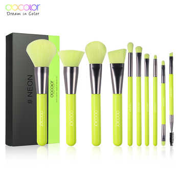 Docolor 10Pcs Professional Makeup Brushes Powder Foundation Eyeshadow Make Up Brushes Set Hair Synthetic Cosmetics Neon Brush - DISCOUNT ITEM  56% OFF All Category