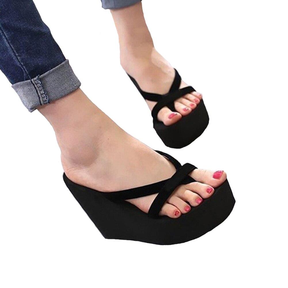 Promote÷Women High Heel Flip Flops Slippers Wedge Platform Beach Shoes Sandals┬
