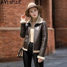 AYUNSUE 가죽 자켓 천연 모직 모피 코트 겨울 자켓 여성 정품 양모 코트 여성 Streetwear 폭격기 재킷 MY4592