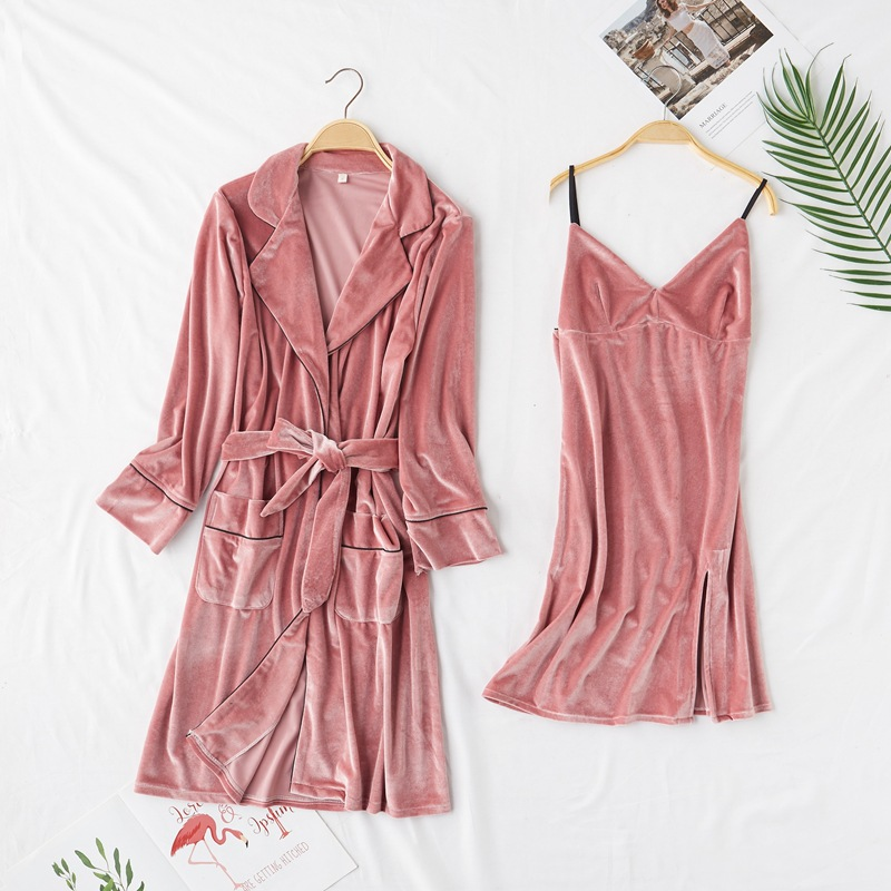 2 Pieces (Robe+Nightgown)Women Robe Set Pajamas Set Autumn&Winter New Velour Sleepwear Nightwear Badgown Casual Homewear M-XL