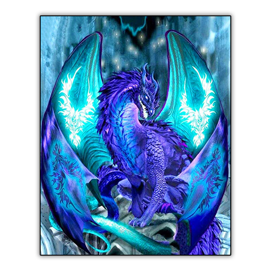 Cartoon 5d DIY Diamond Painting Foto Fantasy Blue Flame Dragon Full Drill Square Daimond Painting Mosaic Embroidery Cross Stitch