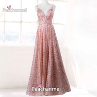 Real Photos Charming Sparkle V Neck Evening Dress Robe De Soiree A Line Sequins Spaghetti Prom Dress Sexy Backless Ball Gown