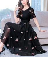 High Quality Plus Size M 3XL 2019 Summer New Arrival Hot Sale Flower Embroidery V Collar Short Sleeve Woman Chiffon Long Dress