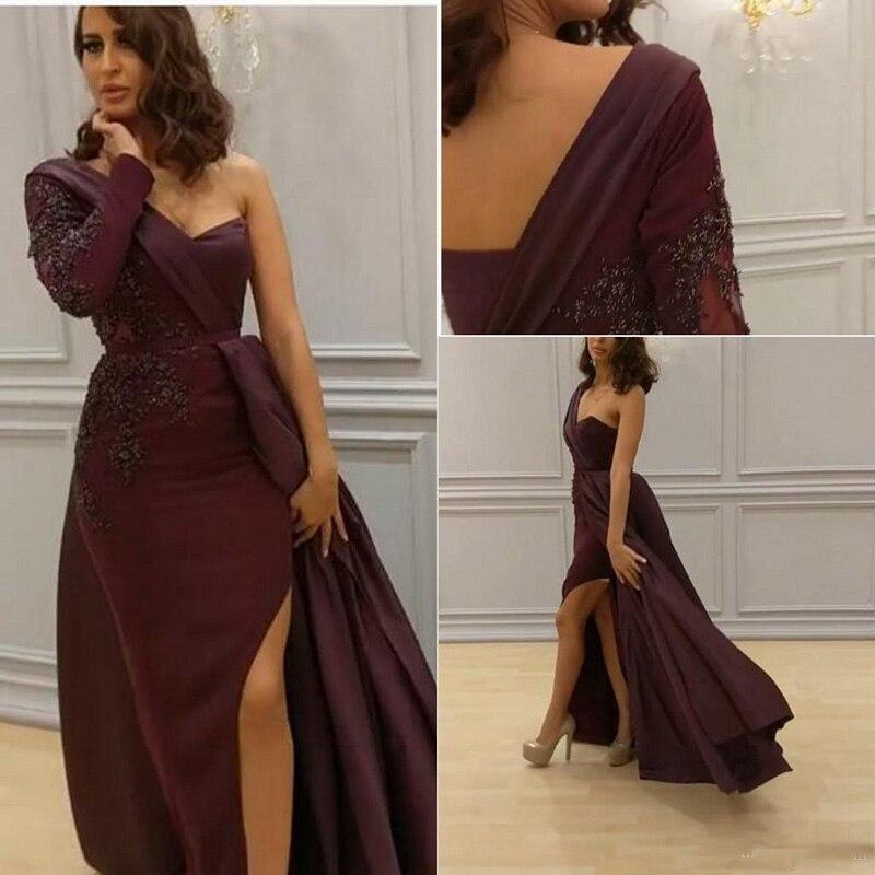 2019 Arabic One Shoulder   Prom     Dresses   Burgundy Long Sleeves Slit Evening Wear Plus Size Vestidos De Novia