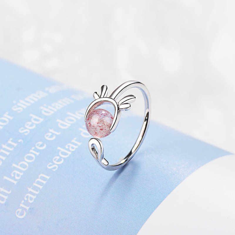 Bague Ringen เงิน 925 เครื่องประดับแหวนเปิดปรับผู้หญิงแหวนเงินกลมโกเมนพลอยหมั้นแฟชั่น jewewlry