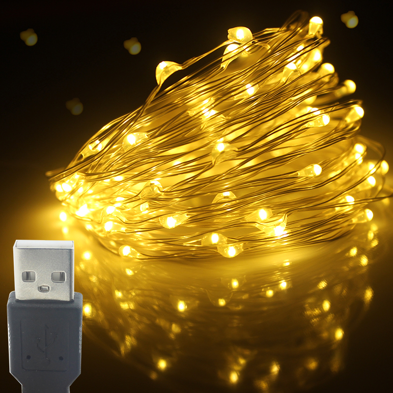 Christmas Light Led Outdoor USB Battery Powered 2m 5m10m String Lights Copper Wire Garland Wedding Party Decoration Fairy Lights